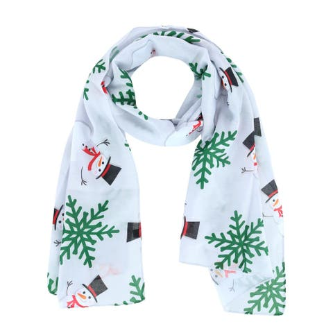 CTM® Women's Holiday Winter Snowman Print Lightweight Scarf - one size