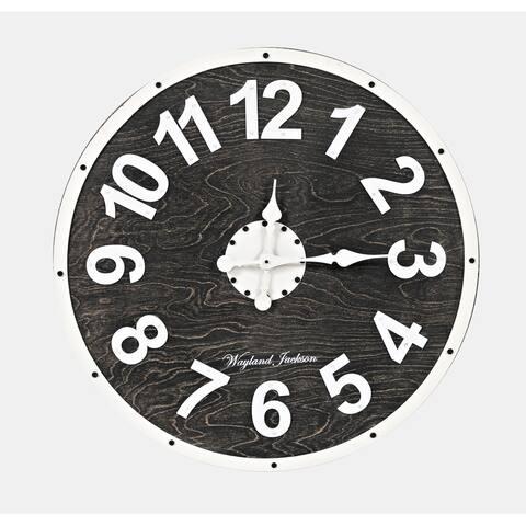 Wayland Jackson Solid Wood Black and White 24-inch Clock