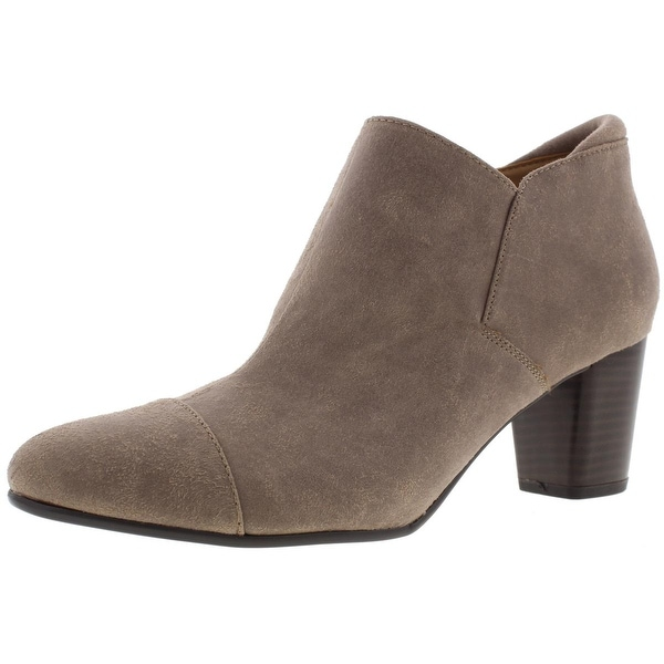 Naturalizer Womens Neebo Ankle Boots Faux Suede Stacked Heel