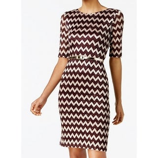 Connected Apparel Womens Petite Zig Zag Sheath Dress