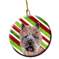Norwich Terrier Candy Cane Christmas Ceramic Ornament