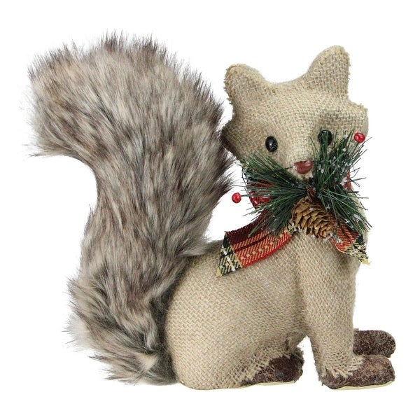 "8"" Holiday Moments Burlap Fox with Fuzzy Tail and Plaid Bow Decorative Christmas Figure - brown"