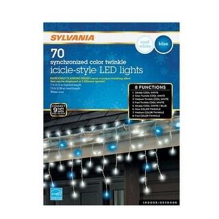 Sylvania V45171-71 Synchronized LED Twinkle Icicle Light Set Blue/White, 70 lights - Blue/White