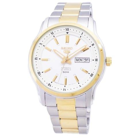 Seiko Men's SNKP14J1 'Seiko 5' Two-Tone Stainless Steel Watch - Silver