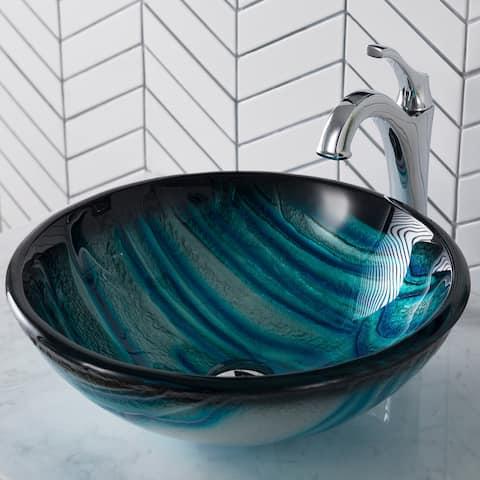 "Kraus C-GV-399-19MM-1200 Arlo & Glass 17"" Glass Vessel Bathroom Sink"