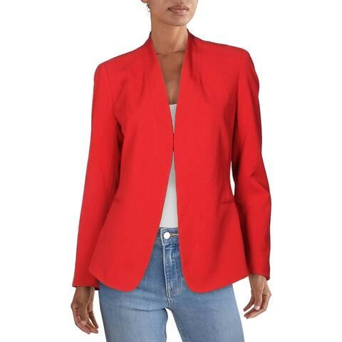 Anne Klein Womens Blazer Collarless Open Front - Titian Red