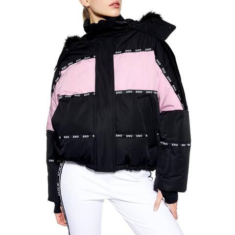 TopShop Womens Jacket Black Size 42 US 10 Sno Oversized Colorblock