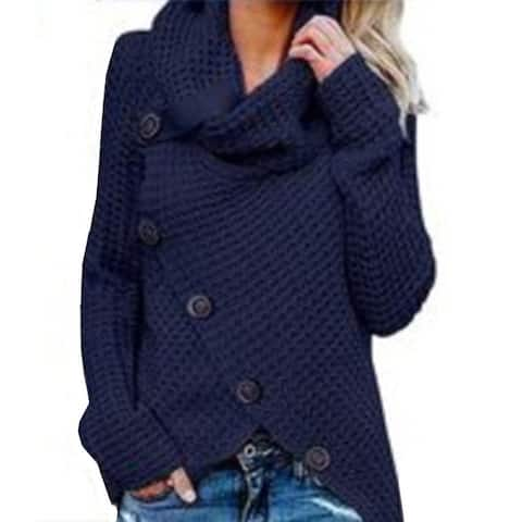 Long Sleeve High Collar Pullover Solid Color Women's Sweater