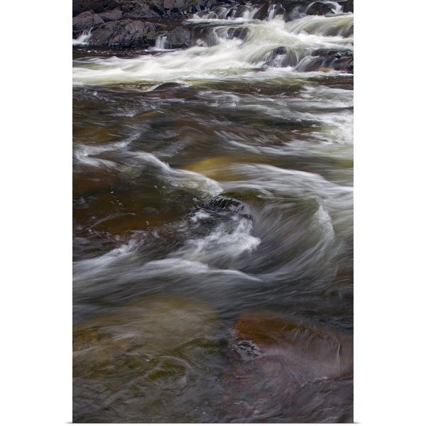 """""""Water rushing over rocks, close up, Pigeon River, Grand Portage State Park, Minnesota"""" Poster Print"""