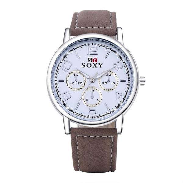 Faux Leather Silver Tone Watch - Chestnut
