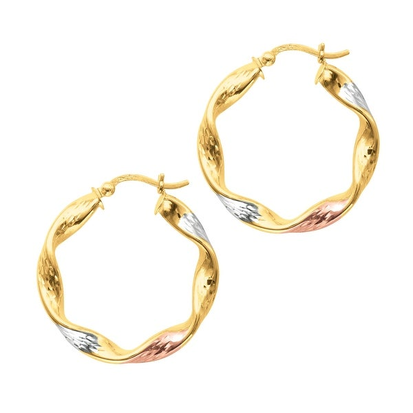 Mcs Jewelry Inc 14 KARAT TRICOLOR, YELLOW GOLD WHITE GOLD AND ROSE GOLD, TWISTED HOOP EARRINGS (28MM) - Tricolor