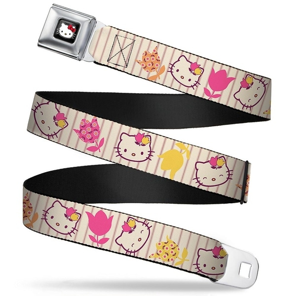 Hello Kitty W Red Bow Full Color Black Hello Kitty Tulip Expressions Seatbelt Belt