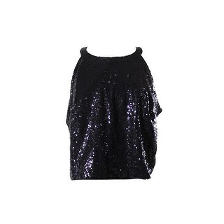 City Chic Plus Size Black Sequined Top 14W
