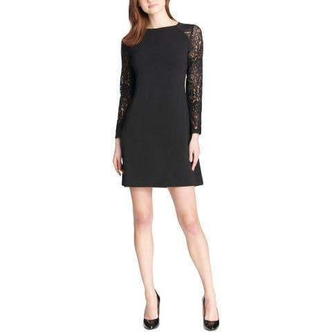 Tommy Hilfiger Womens Dress Black Size 14 A-Line Floral Lace-Sleeve