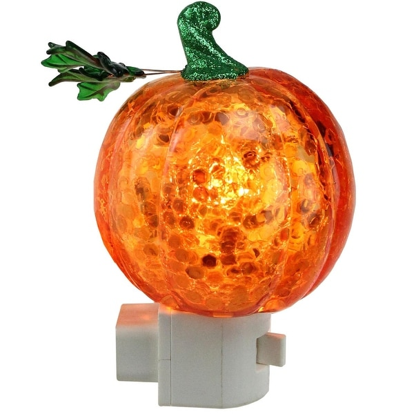 "5"" Orange and Green Sequin Pumpkin Autumn Night Light with Swivel Plug"