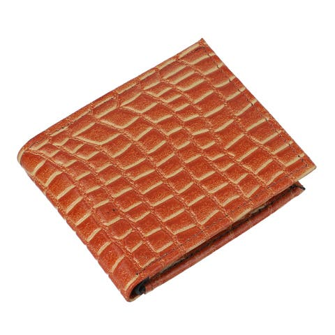 Shop LC Tan Genuine Leather Croco Embossed Men Wallet Purse Pouch - 11x4 inches