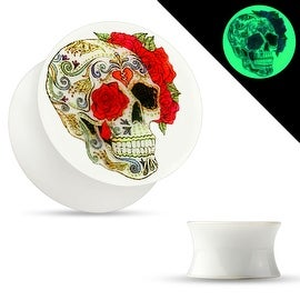 Sugar Skull Rose Print Glow in the Dark Double Flared Acrylic Saddle Plug (Sold Individually)