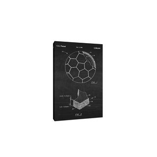 Soccer Ball Canvas (White on Chalkboard) - Sports Patents - 20x12 Canvas