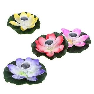 0.1W Solar Powered Multi-colored LED Lotus Flower Lamp RGB Night Light Auto On / Off for Garden Pool Party Ideal Gift Pink
