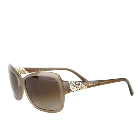 Bvlgari Women's Triangle Pattern Gray Brown Metal Oversized Sunglasses 8153-B 5349/1 - One size
