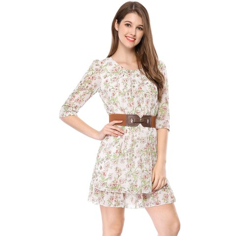 Women Layered 3/4 Sleeve Floral Above Knee Dresses
