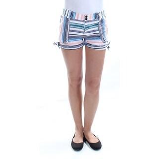 Womens White Blue Printed Cuffed Short Juniors Size 1