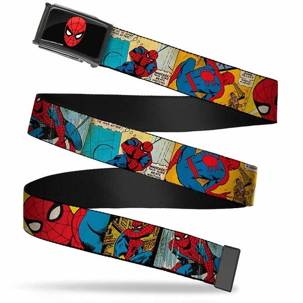 Marvel Comics Spider Man Face Fcg Chrome Spider Man Comic Strip Web Belt