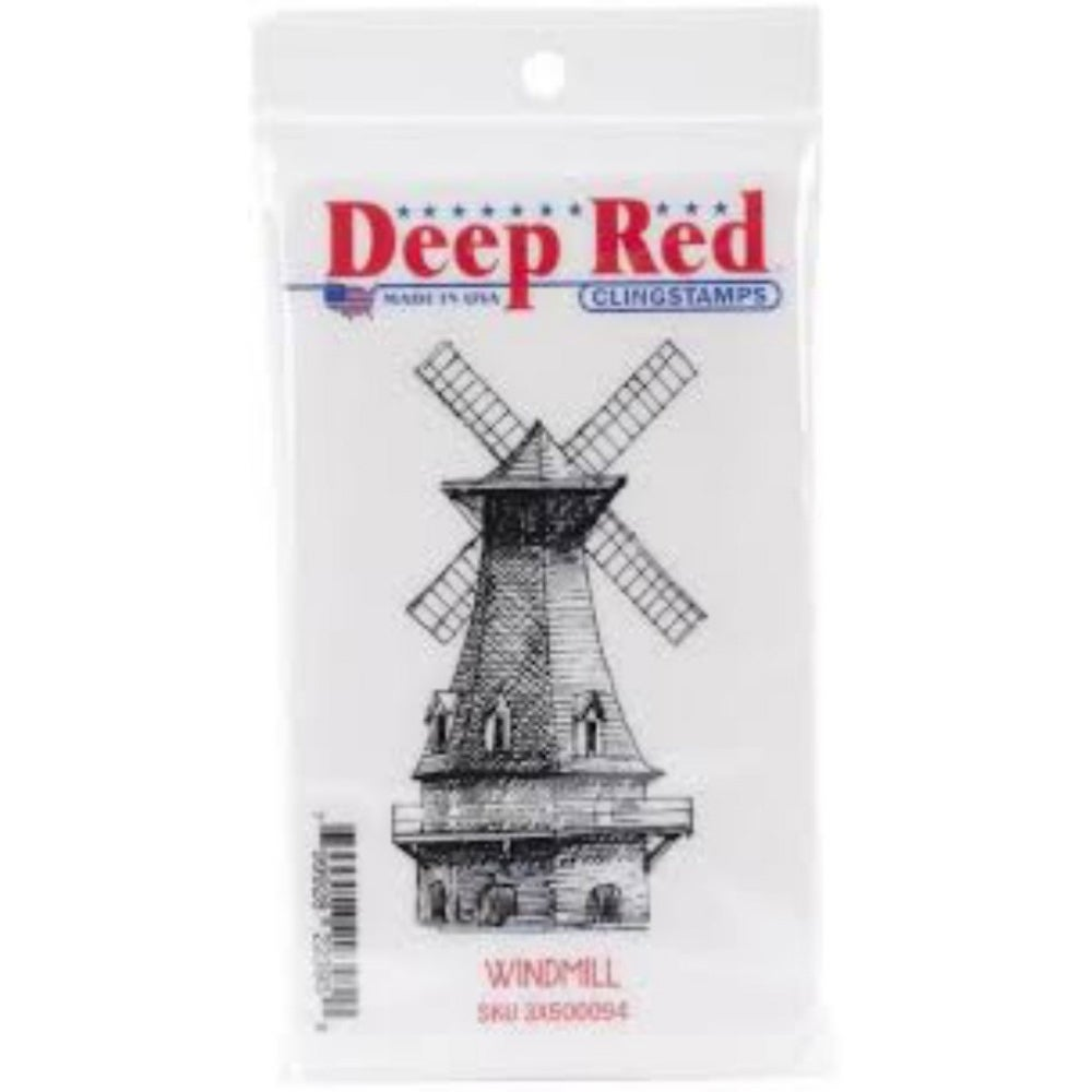 Deep Red Stamps Windmill Rubber Stamp