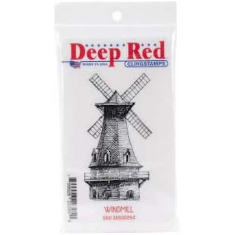 Deep Red Stamps Windmill Rubber Cling Stamp - 2 x 3