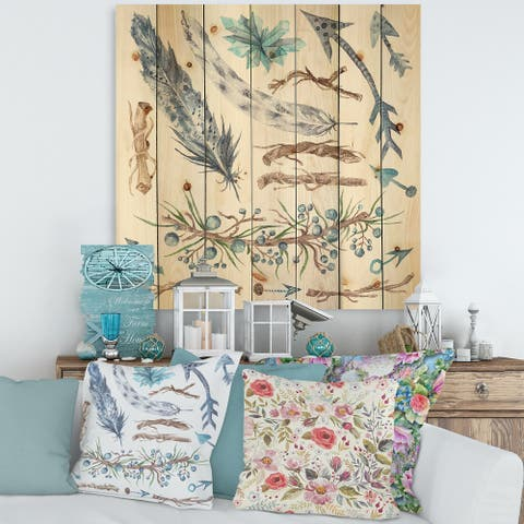 Designart 'Tribal Forest' Bohemian & Eclectic Print on Natural Pine Wood
