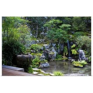 """Zen garden with washbasin and waterfall, Jikko-in"" Poster Print"