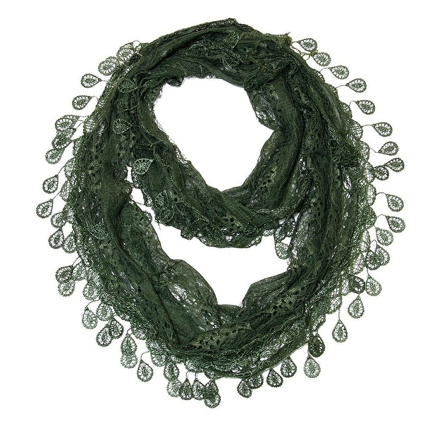 """Women's Sheer Lace Scarf With Teardrops Fringe - a. green - 62"""" x 12"""""""