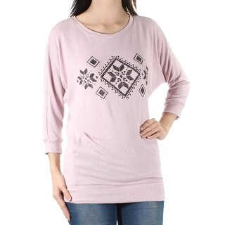 Womens Pink Nordic 3/4 Sleeve Jewel Neck Sweater Size S