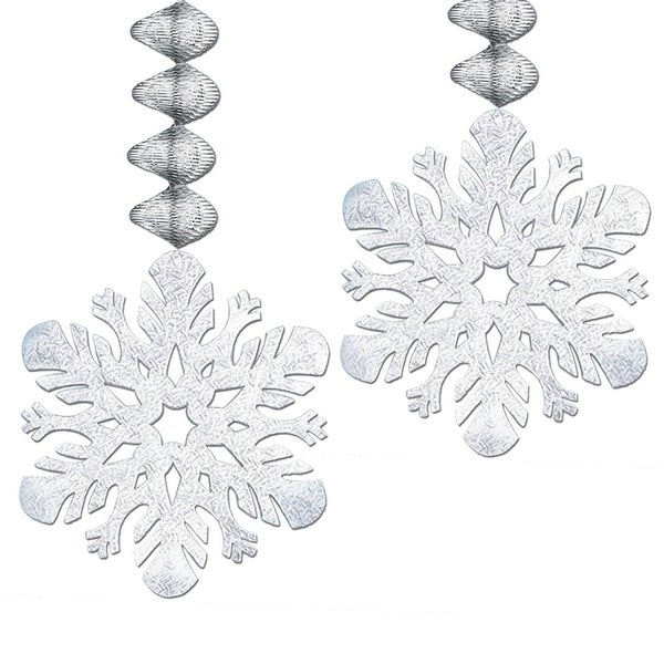 """Club Pack of 24 Metallic Silver Snowflake Foil Christmas Dangler Hanging Party Decorations 30"""""""