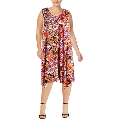 Context Womens Plus Party Dress Printed Special Occasion