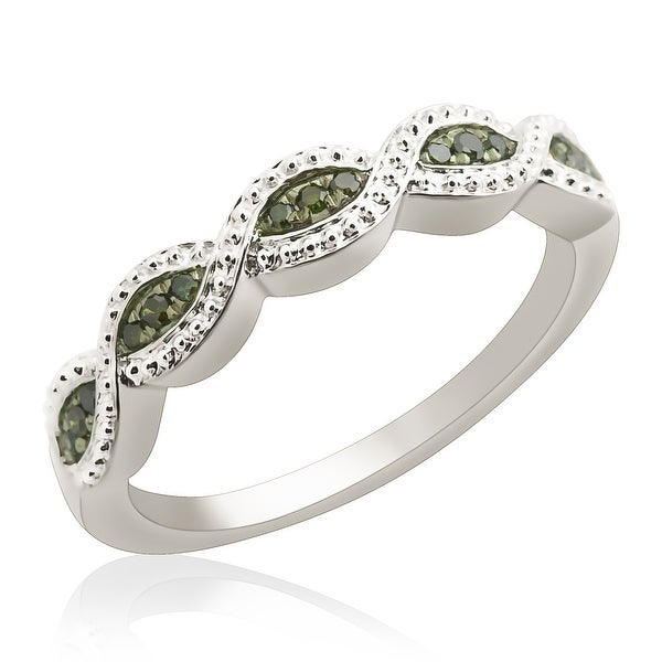 Prism Jewel 0.10Ct Round Green Color Diamond Wedding Band