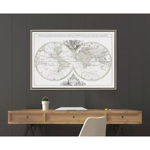 Kate and Laurel Sylvie World Map Framed Canvas by Corinna Buchholz