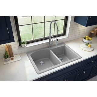 "Link to 33"" Top Mount Large/Small Bowl Quartz Kitchen Sink - 33"" x 22"" x 9"" - 33"" x 22"" x 9"" Similar Items in Sinks"