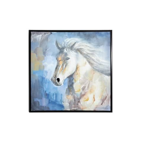 """39.5"""" Large Square Blue Gray and White Horse Painting in Black Frame"""