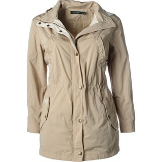 Lauren Ralph Lauren Womens Basic Coat Contrast Trim Removable Hood