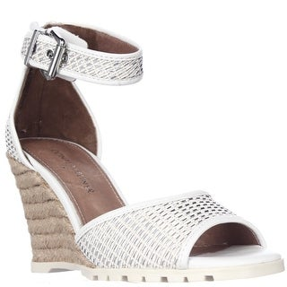 Donald J Pliner Brook Peep Toe Ankle Strap Espadrille Wedge Sandals - White