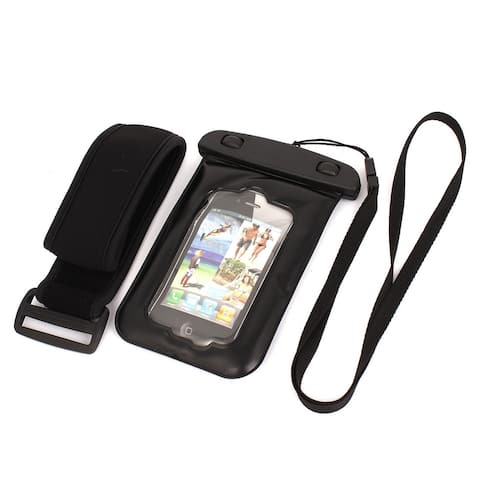 Unique Bargains Waterproof Case Dry Bag Skin Cover Pouch + Earplug Black for 4 Cell Phone