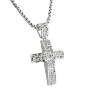Jesus Cross Pendant Unique Silver Tone Simulated Diamonds Pave Set Steel Chain