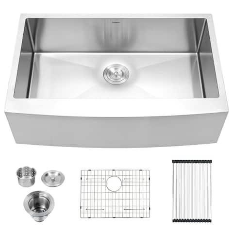 Lordear 33 Inch Farmhouse Kitchen Sink,16 Gauge Stainless Steel Apron Front Single Bowl Farm Kitchen Sink