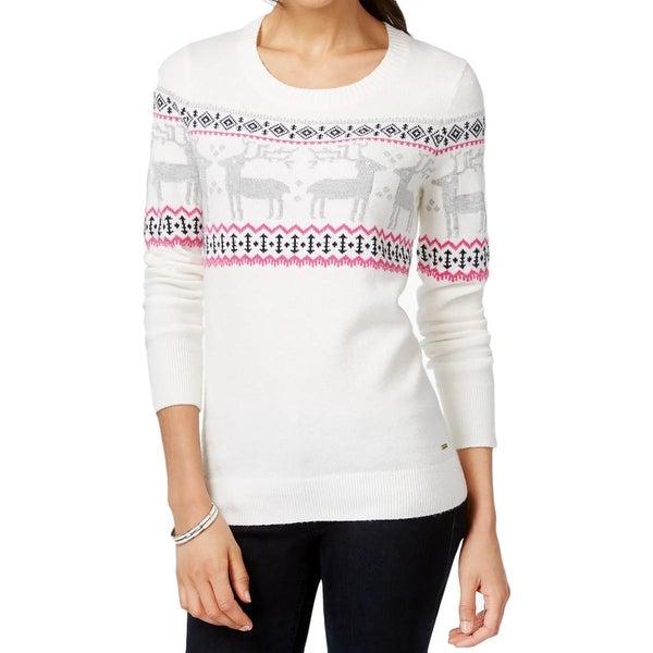 Tommy Hilfiger Womens Pullover Sweater Metallic Reindeer Print