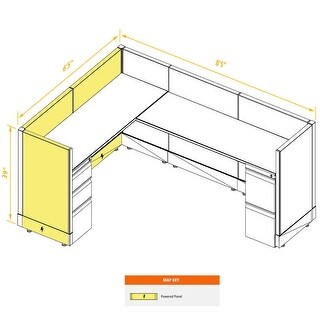 System Furniture 39H Powered (6x8 - White Desk Silver Paint - Assembly Required)