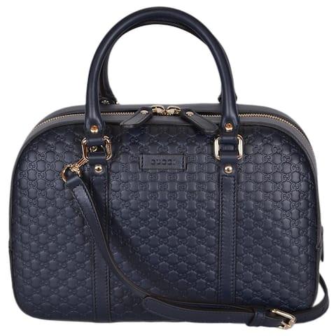 Gucci Women's 510286 Micro GG Blue Leather Convertible Medium Satchel Purse - Navy Blue