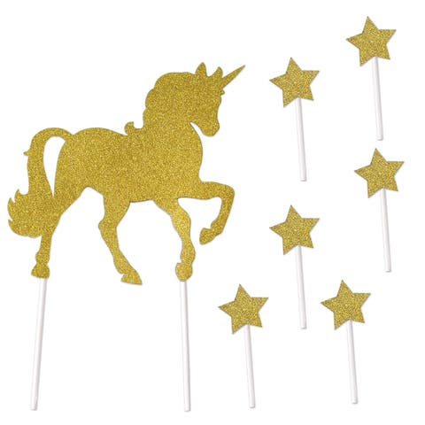 "Pack of 12 Glittery Gold Fantasy Unicorn Cake Topper Party Picks 10.75"" - N/A"