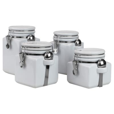 Home Basics Easy Grip 4 Piece Ceramic Canisters with Spoons, White