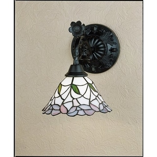 """Meyda Tiffany 27386 Daffodil Bell 9"""" Wide Single Light Wall Sconce with Stained Glass Shade - tiffany glass"""